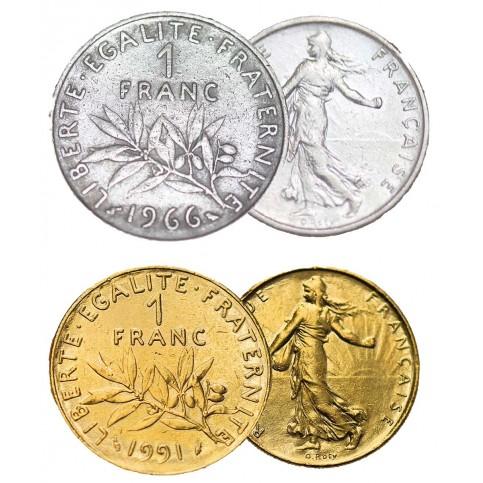 Pièce de 1 F Semeuse + dorée à l'or fin 24 carats