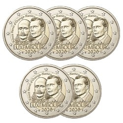 LOT DE 5 PIECES 2€ commémorative Luxembourg 2020