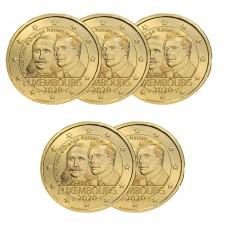 LOT DE 5 PIECES 2€ Luxembourg 2020 dorée à l'or fin 24 carats