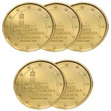 LOT DE 5 PIECES Portugal 2020 dorée à l'or fin 24 carats