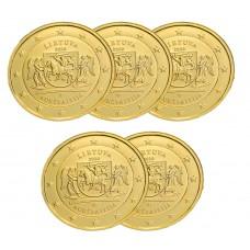 LOT DE 5 PIECES Lituanie 2020 dorée à l'or fin 24 carats