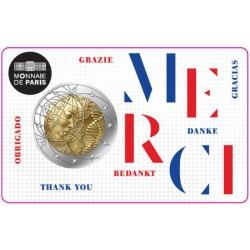 """France 2020 - 2 euro commémorative """"Merci"""""""