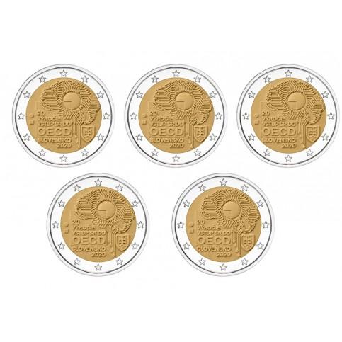Lot x5 Slovaquie 2020 - 2 euro commémorative OECD
