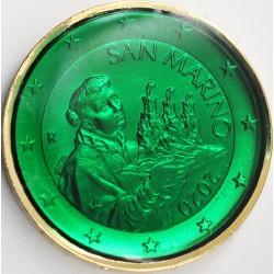Saint Marin 2020 - dorée OR fin 24 carats Emeraude précieuse