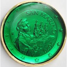 Saint Marin 2020 - dorée OR fin 24 carats Emeraude