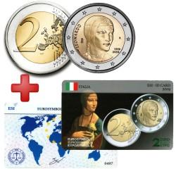 2 euros Italie 2019 Leonard de Vinci + carte commémorative