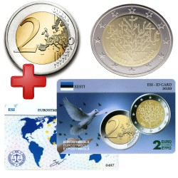 2 euros Estonie 2020 Tartu + carte commémorative