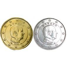 Lot Monaco 2020 -1 € dorée + argentée