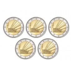 Lot 5 pièces Portugal 2021 - 2 euro commémorative Présidence