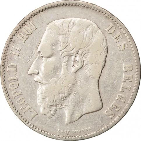 Léopold II Roi des Belges - 5 francs Argent