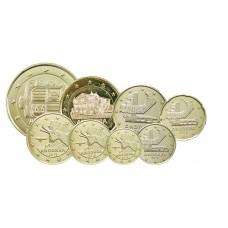 Série euros complète Andorre - dorée OR