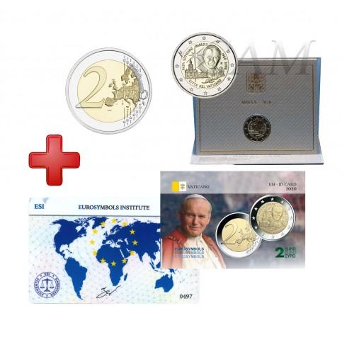Lot Vatican 2020 Jean Paul II   + carte commémorative