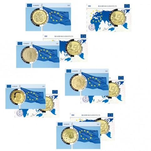 Lot de 5 Coincards  Drapeau Européen