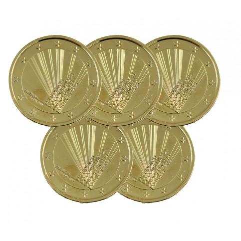 Lot de 5 pièces Portugal 2021 dorées à l'or fin 24 carats
