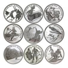 Série complète 9 monnaies argent - Albertville JO 1992