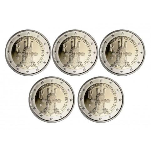 Lot 5 pièces Italie 2021 - 2 euro commémorative Rome