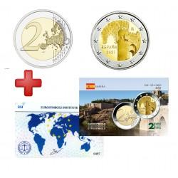 2 euros  Espagne 2021 Tolede + carte commémorative