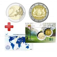 2 euros  Lituanie 2021 Dzugkija + carte commémorative