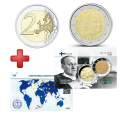 2 euros Finlande 2020 Vaino + carte commémorative