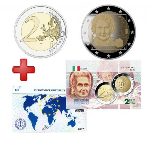 2 euros Italie 2020 Montessori + carte commémorative