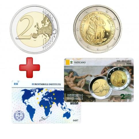 2 euros Vatican 2019 Sixtine + carte commémorative