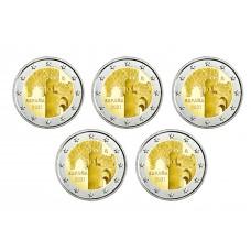 Lot 5 pièces Espagne 2021 - 2 euro commémorative Tolede