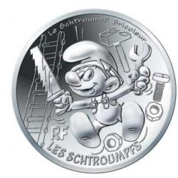 France 2020 - Schtroumpf bricoleur - 10 euros argent