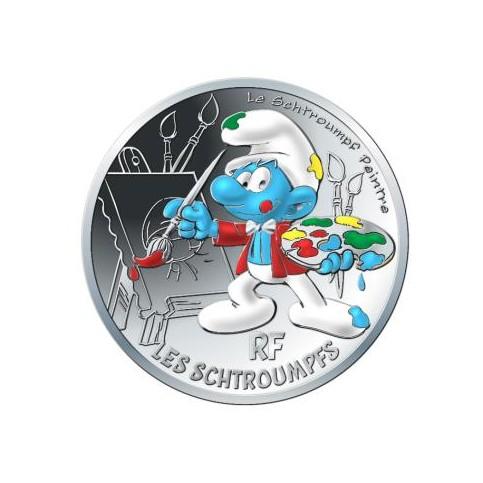 France 2020 - Schtroumpf peintre - 10 euros argent