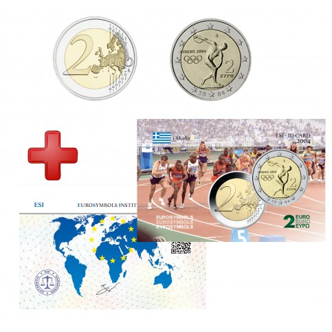 2 euros Grèce 2004 JO + carte commémorative