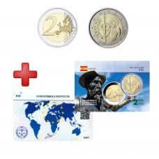 2 euros Espagne 2005 Don Quichotte + carte commémorative