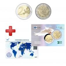 2 euros Finlande 2005 Nations Unies + carte commémorative