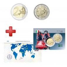 2 euros Italie 2006 Jeux Olympiques + carte commémorative