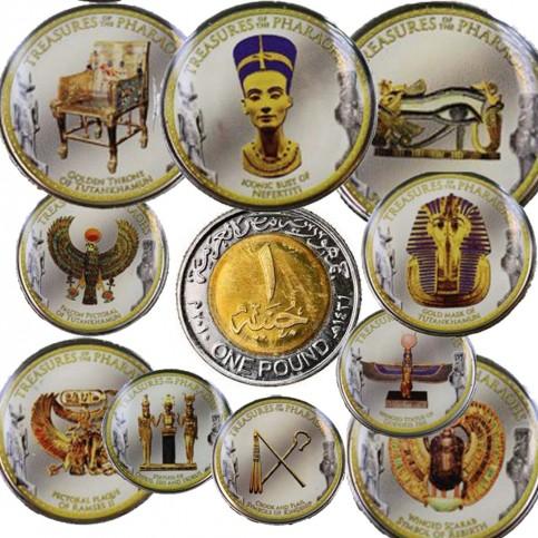 Coffret de 10 Monnaies Egypte pharaons en couleur