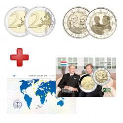 Luxembourg 2021 - 2 euros commémorative Grand Duc Jean 2 versions + carte commémorative