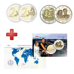 Luxembourg 2021 - 2 euros commémorative mariage 2 versions+carte commémorative