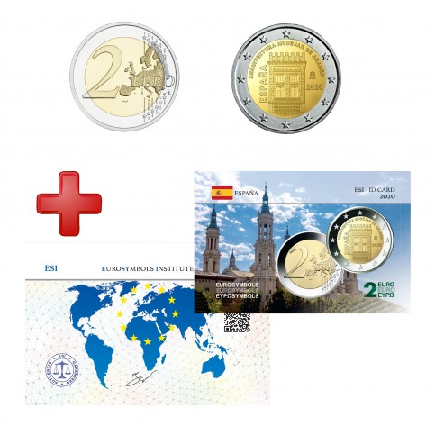 2 euros Espagne 2020 Aragon + carte commémorative