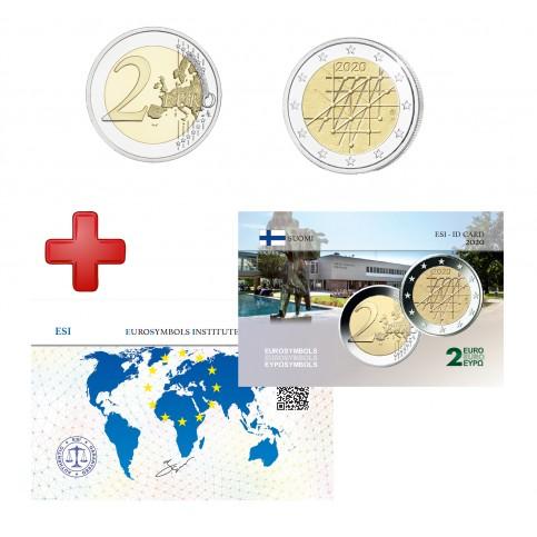 2 euros Finlande 2020 Turku + carte commémorative