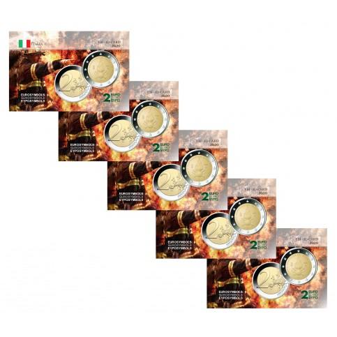 Lot x5 Italie 2020 Pompiers - Carte commémorative