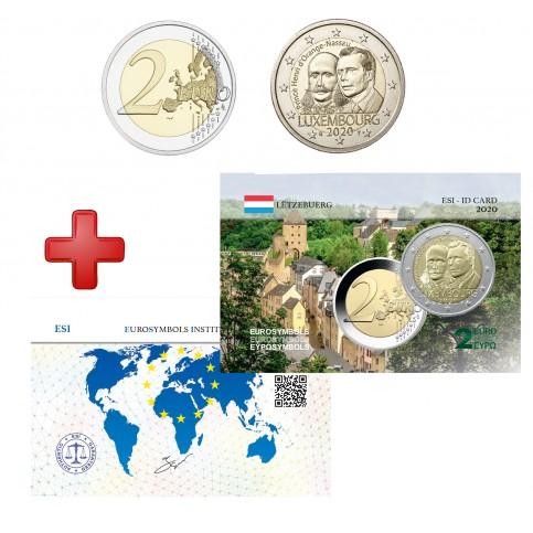 2 euros Luxembourg 2020 Prince Henri + carte commémorative