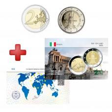 2 euros Italie 2021 Rome + carte commémorative