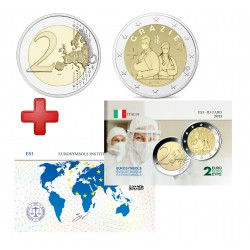 2 euros Italie 2021 Grazié + carte commémorative
