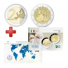 2 euros Italie 2021 Merci + carte commémorative
