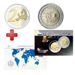 2 euros  Saint Marin 2005 Galilée + carte commémorative