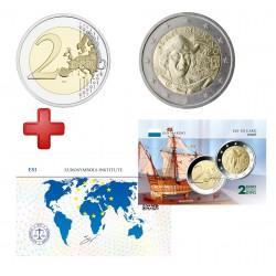 2 euros  Saint Marin 2006 Christophe Colomb + carte commémorative