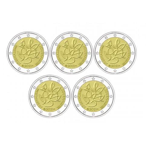 Lot de 5 pièces Finlande 2021 - 2 euro commémorative Journalisme