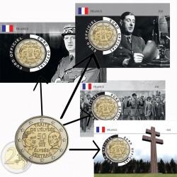 France 2013 Traité de l'Elysé - série complète de 4 coincards Charles de Gaulle