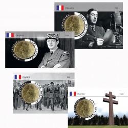 France 2021 50 centimes -série complète de 4 coincards Charles de Gaulle