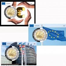 Lot de 5 Coincards Europe - série Parlement