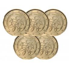Lot de 5 pièces Finlande 2021 dorée à l'or fin 24 carats - 2€ commémorative