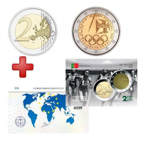 2 euros Portugal 2021 JO + carte commémorative